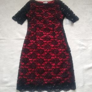 New 🎀 Black lace red underlay scallop edge dress